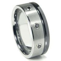Tungsten Carbide Black Diamond Wedding Band Ring