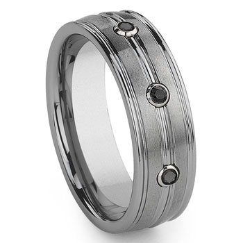 Tungsten Carbide 3 Black Diamond Wedding Band Ring