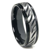 Black Tungsten Carbide 8MM Diamond Cut Ribbed Wedding Band Ring