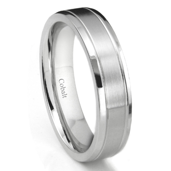 Cobalt XF Chrome 6MM Newport Beveled Wedding Band Ring