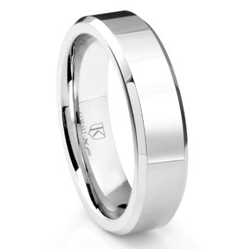 Cobalt XF Chrome 6MM High Polish Beveled Wedding Band Ring