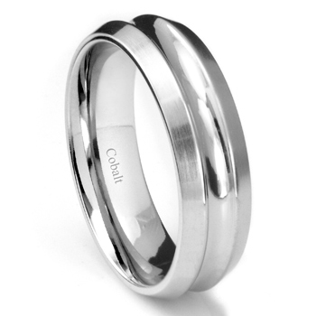 Cobalt XF Chrome 8MM Concave Wedding Band Ring w/ Beveled Edges