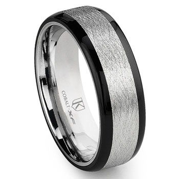 Cobalt XF Chrome 8MM Italian Di Seta Finish Two-Tone Flat Wedding Band Ring w/ Rounded Edges