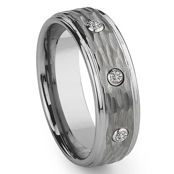 Tungsten Carbide Diamond Hammer Finish Wedding Band Ring