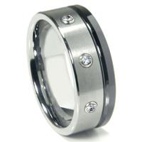 Tungsten Carbide Diamond Wedding Band Ring