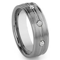 Tungsten Carbide 3 Diamond Wedding Band Ring