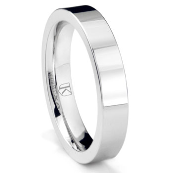 Cobalt XF Chrome 4MM Flat Wedding Band Ring