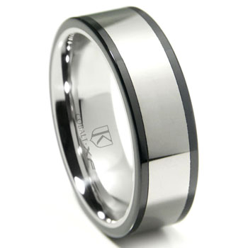 Cobalt XF Chrome 8MM Two Tone Flat Polished Wedding Band Ring