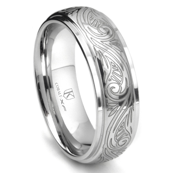 Cobalt XF Chrome 8MM Laser Engraved Paisley Motif Dome Wedding Band Ring