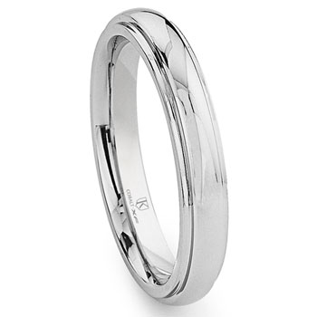 Cobalt XF Chrome 4MM Dome Wedding Band Ring w/ Raised Center