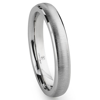 Cobalt XF Chrome 4MM Satin Finish Beveled Wedding Band Ring