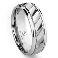Cobalt XF Chrome 8MM Wavy Newport Wedding Band Ring
