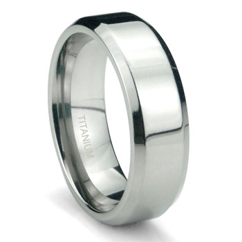 Titanium 6mm High Polish Beveled Wedding Band Ring