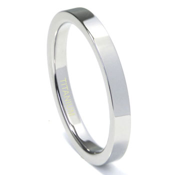 Titanium 3mm High Polish Flat Wedding Band Ring