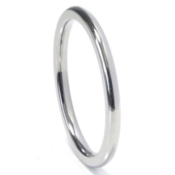 Titanium 2mm High Polish Dome Wedding Band Ring