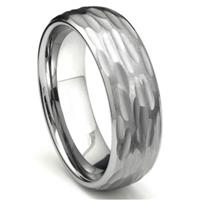 Tungsten Carbide Hammer Finish Dome Wedding Band Ring