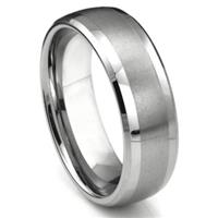 Tungsten Carbide Dome Matte Center Wedding Band Ring