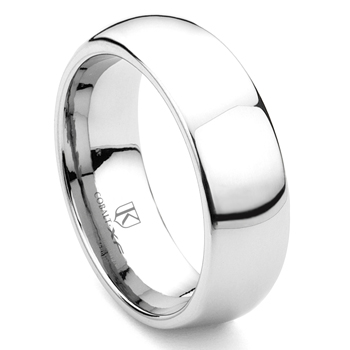 Cobalt XF Chrome 8MM Plain Dome Wedding Band Ring
