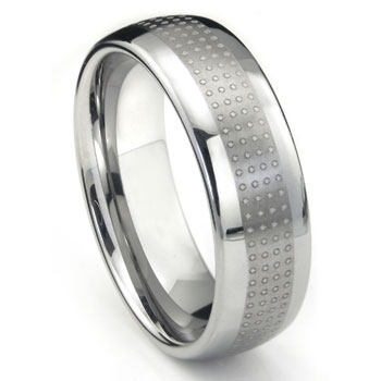 Tungsten Carbide Polka Wedding Band Ring