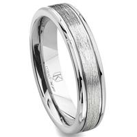 Cobalt XF Chrome 6MM Italian Di Seta Finish Newport Wedding Band Ring