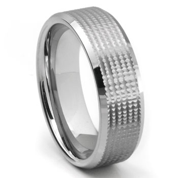 Tungsten Carbide Diamond Cut Unique Wedding Band Ring