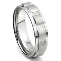 Tungsten Carbide 7MM Coin Edge Wedding Band Ring