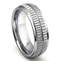 Tungsten Carbide Double Coin Edge Wedding Band Ring