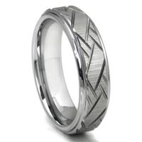 Tungsten Carbide Diagonal Groove Wedding Band Ring