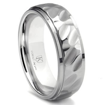 Cobalt XF Chrome 8MM Hammer Finish Wedding Band Ring