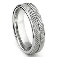 Tungsten Carbide 7MM Diamond Cut Chevron Wedding Band Ring