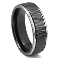 Black Tungsten Carbide 8MM Hammer Finish Newport Wedding Band Ring