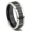 Cobalt XF Chrome 8MM Two-Tone Matte Finish Center Wedding Band Ring