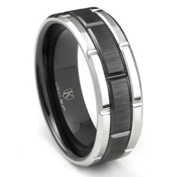 Cobalt XF Chrome 8MM Two-Tone Horizontal Satin Finish Wedding Band Ring
