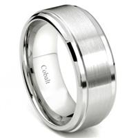 Cobalt XF Chrome 9MM Brush Center Wedding Band Ring