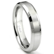 Cobalt XF Chrome 5MM Brush Center Wedding Band Ring w/ Beveled Edges