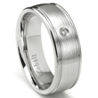 Cobalt Chrome 8MM Solitaire Diamond Wedding Band Ring w/ Ribbed Edges