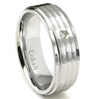Cobalt Chrome 8MM Solitaire Hammer Finish Diamond Wedding Band Ring
