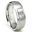 Cobalt Chrome 8MM Solitaire Diamond Wedding Band Ring /w Horizontal Grooves