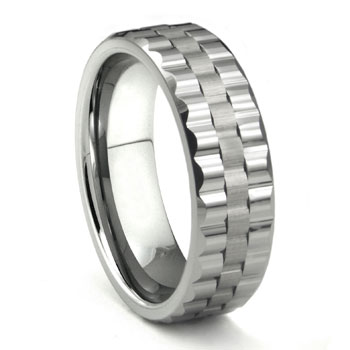 Tungsten Carbide Watchband Design Wedding Band Ring
