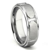 Tungsten Carbide Horizontal Satin Finish  Wedding Band Ring w/ Raised Center