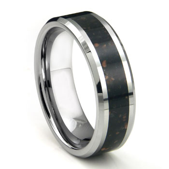 Tungsten Carbide Black Lava Riverstone Inlay Wedding Band Ring