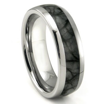 Tungsten Carbide Grey Metamorphic stone Inlay Dome Wedding Band Ring
