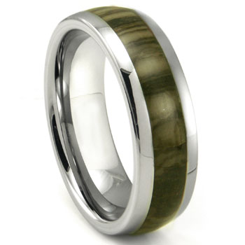 Tungsten Carbide Oak Metamorphic stone Inlay Dome Wedding Band Ring