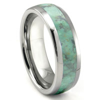 Tungsten Carbide Emerald Green Metamorphic Stone Inlay Dome Wedding Band Ring