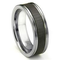 Tungsten Carbide Champagne Ceramic Inlay Wedding Band Ring w/ Horizontal Satin Finish