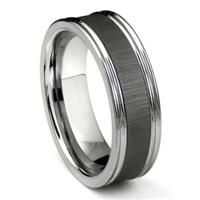 Tungsten Carbide Black Ceramic Inlay Wedding Band Ring w/ Horizontal Satin Finish