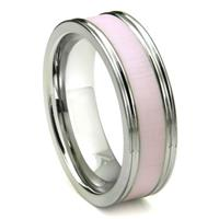 Tungsten Carbide Pink Ceramic Inlay Wedding Band Ring w/ Horizontal Satin Finish