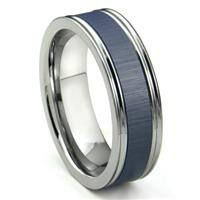 Tungsten Carbide Blue Ceramic Inlay Wedding Band Ring w/ Horizontal Satin Finish