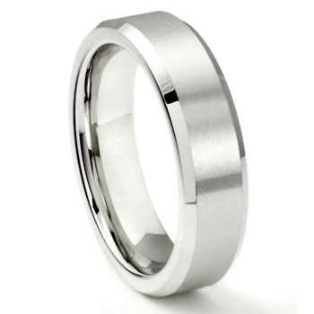 White Tungsten Carbide 6MM Beveled Wedding Band Ring