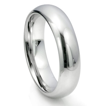White Tungsten Carbide 6MM Plain Dome Wedding Ring